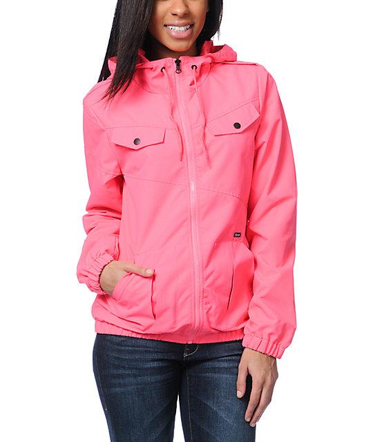 Volcom Enemy Lines Neon Pink Windbreaker Jacket