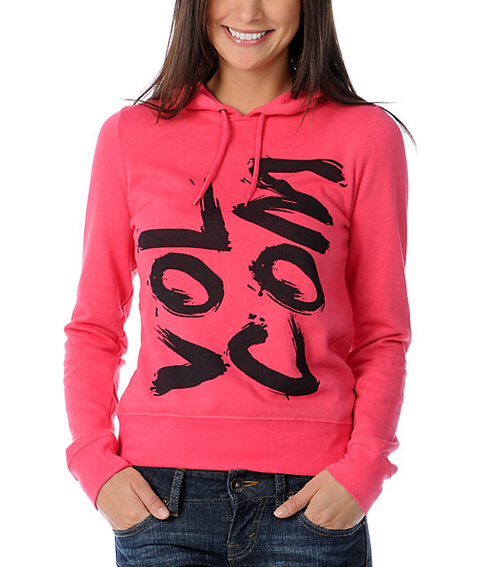Volcom Enough Brush Pink Pullover Hoodie