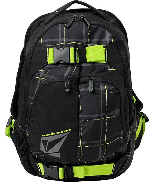 Volcom Equilibrium Black & Green Plaid Skate Backpack