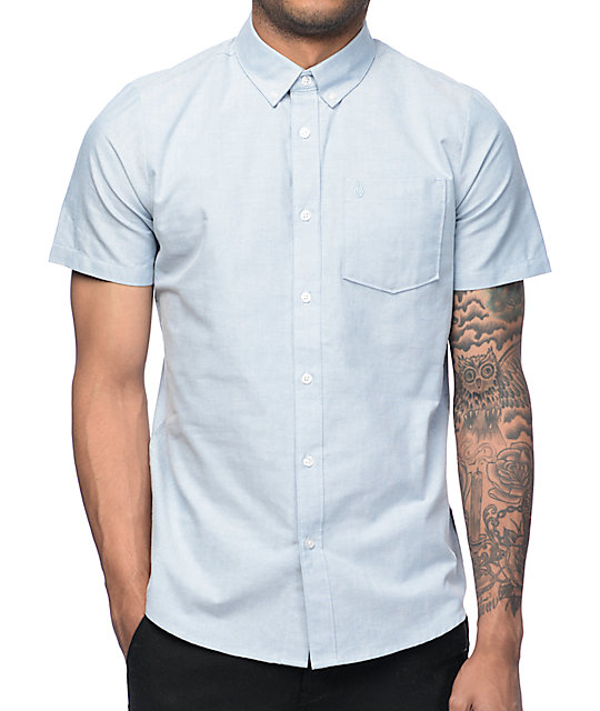 Volcom everett blue oxford button up shirt at zumiez pdp for Blue button up work shirt
