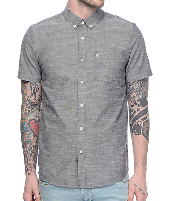 Volcom Everett Oxford Charcoal Woven Button Up Shirt