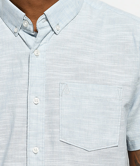 Volcom Everett Oxford Light Blue Short Sleeve Button Up Shirt