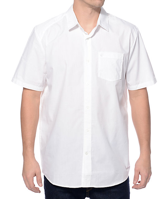 Volcom Everett Solid White Button Up Shirt