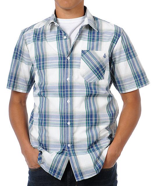 Volcom ex factor blue green plaid button up shirt at for Blue and green tartan shirt
