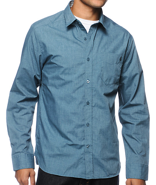 Volcom Ex Factor Blue Chambray Long Sleeve Button Up Shirt