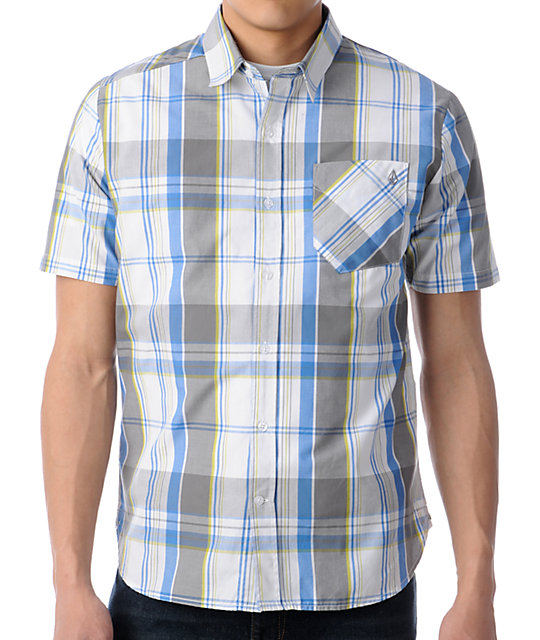 Volcom Ex Factor Blue Plaid Short Sleeve Button Up Shirt