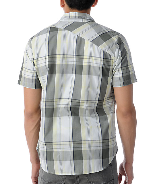 Volcom Ex Factor Dust Yellow Plaid Short Sleeve Button Up Shirt