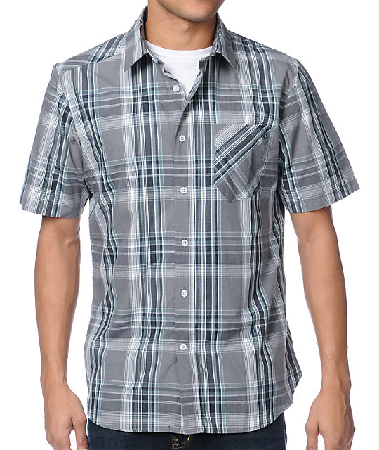 Volcom Ex Factor Grey Plaid Button Up Shirt