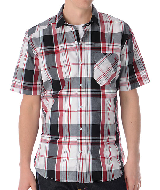 Volcom Ex Factor Red & Black Plaid Button Up Shirt