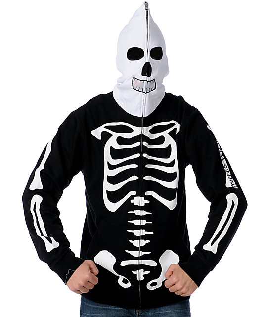 Volcom Fear Skeleton White & Black Full Zip Face Mask Hoodie