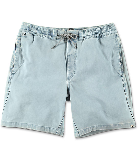 Volcom Flare Light Blue Elastic Waist Shorts