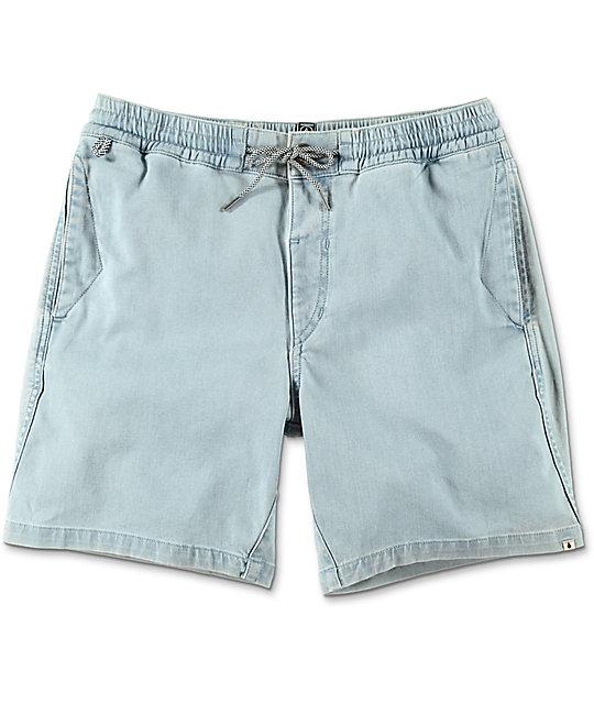 Flare Light Blue Elastic Waist Shorts