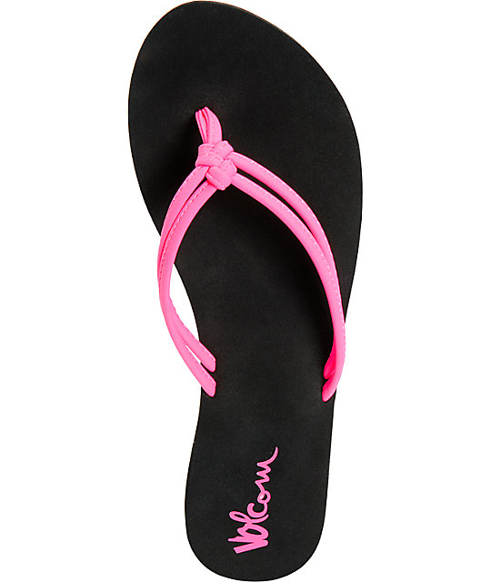 Volcom Forever And Ever Neon Pink & Black Sandals