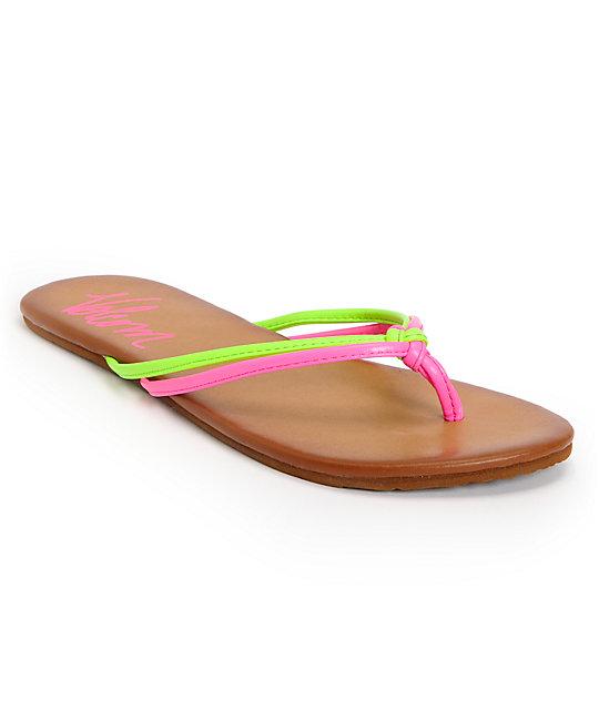 Volcom Forever Neon Pink & Green Creedler Sandals