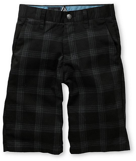 Volcom Frickin Black Plaid Boys Shorts