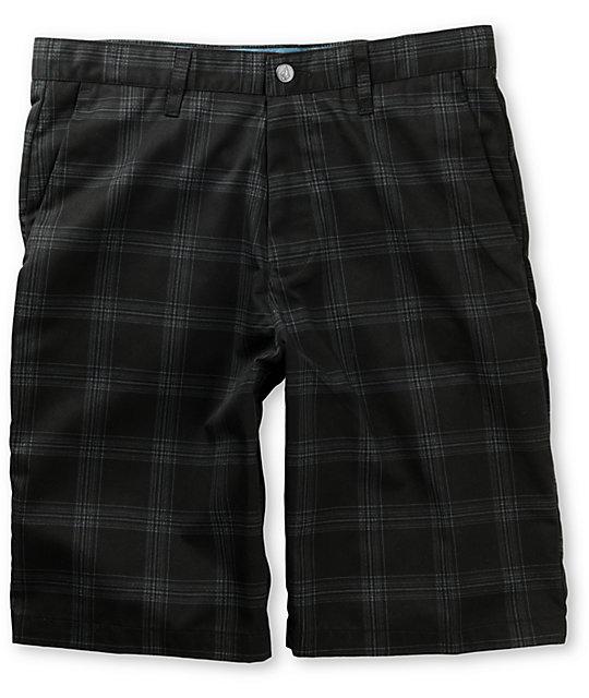 Volcom Frickin Black Plaid Chino Shorts