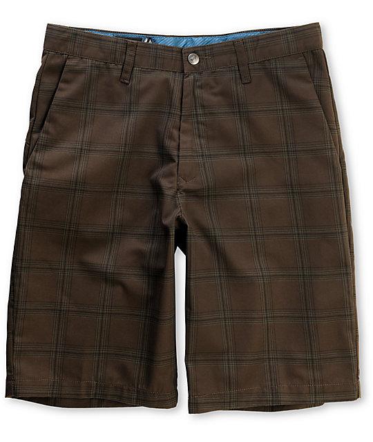 Volcom Frickin Brown Plaid Chino Shorts