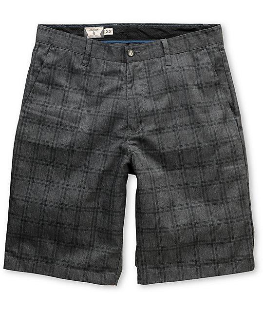 Volcom Frickin Charcoal Grey Plaid Chino Shorts