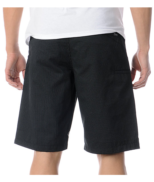 Volcom Frickin Modern Black Pin Stripe Chino Shorts