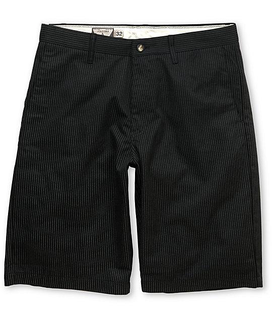 Volcom Frickin Modern Black Pin Stripe Chino Shorts