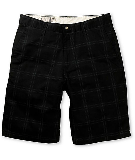 Volcom Frickin Modern Black Plaid Chino Shorts