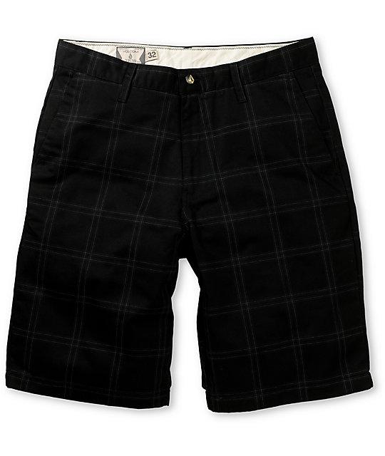 Volcom Frickin Modern Black Plaid Chino Shorts