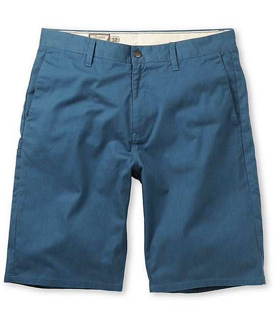 Volcom Frickin Modern Blue Stretch Chino Shorts