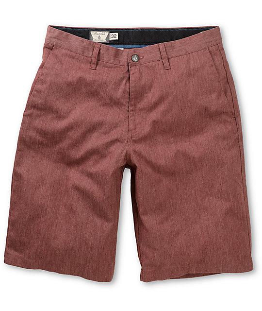 Volcom Frickin Modern Burgundy Chino Shorts