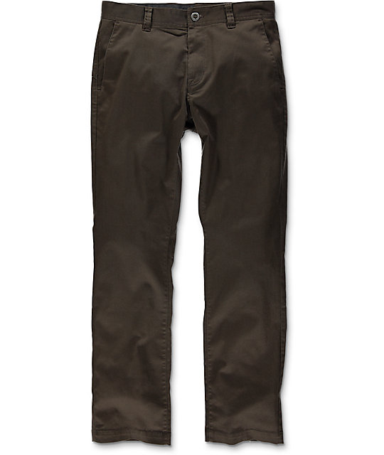 Volcom Frickin Modern Dark Brown Stretch Chino Pants
