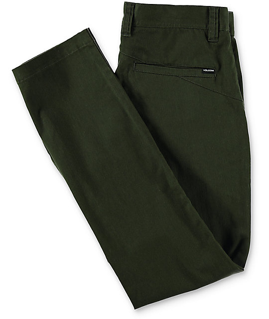 Volcom Frickin Modern Dark Green Stretch Chino Pants