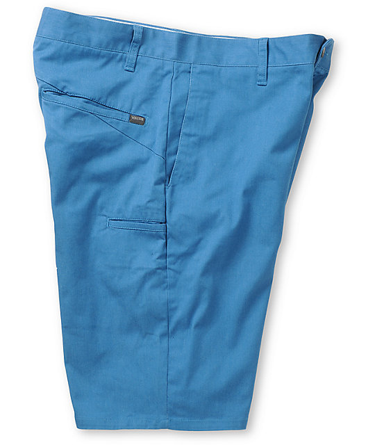 Volcom Frickin Modern Ocean Blue Stretch Chino Shorts