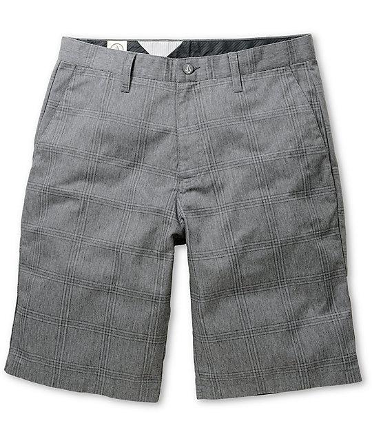 Volcom Frickin Plaid Charcoal Chino Shorts
