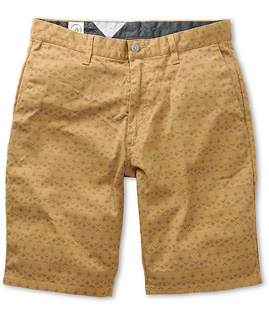 Volcom Frickin Print Khaki Chino Shorts