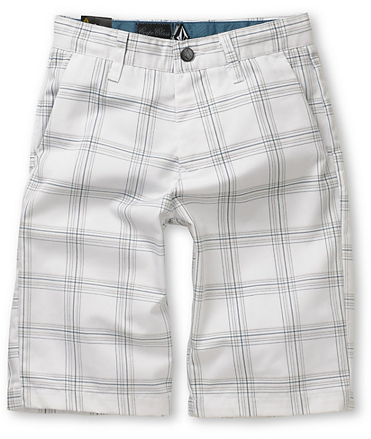 Volcom Frickin White Plaid Boys Shorts