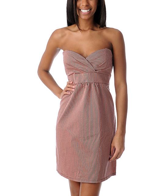 Volcom Frochickie Black & Coral Striped Dress