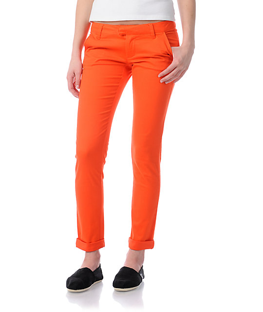 Volcom Frochickie Fire Red Matchstick Skinny Pants