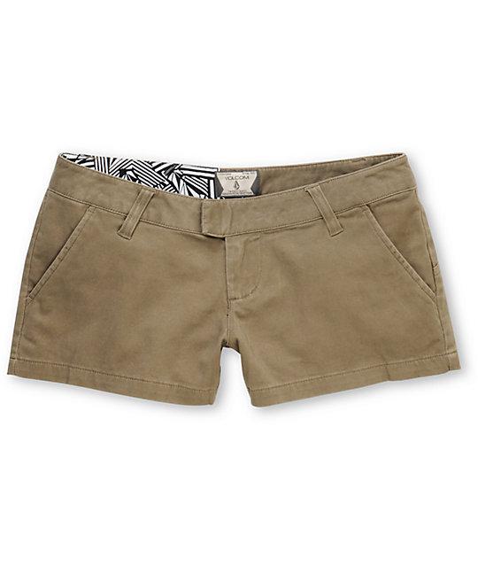 Volcom Frochickie Solid Khaki Shorts
