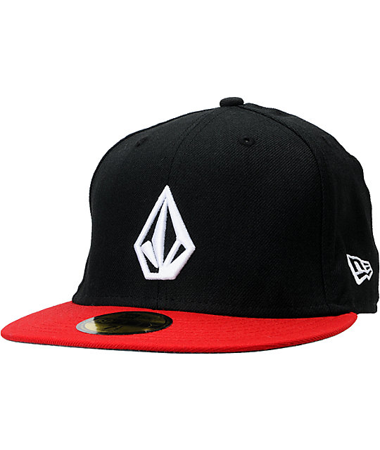 Volcom Full Stone Black & Red New Era Fitted Hat