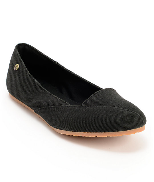Volcom Game On Black Canvas Flats
