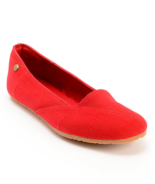 Volcom Game On Red Canvas Flats
