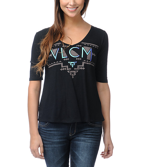 Volcom Geo Fade Out Black Half Sleeve T-Shirt