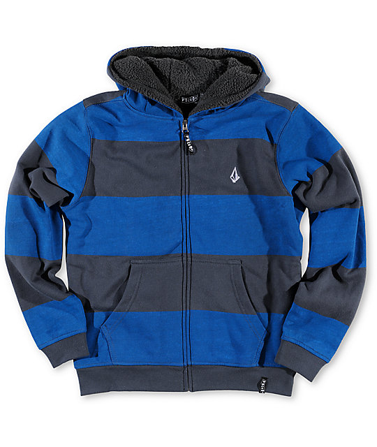 Volcom Getta Charcoal & Blue Sherpa Fleece Zip Up Hoodie