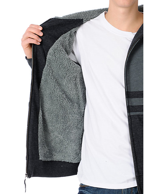 Volcom Getta Charcoal Striped Fleece Sherpa Zip Up Hoodie