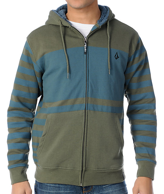 Volcom Getta Green & Blue Stripe Sherpa Fleece Zip Up Hoodie