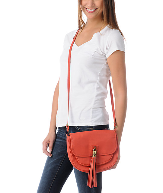Volcom Girls Shake Your Tassel Coral Crossbody Purse