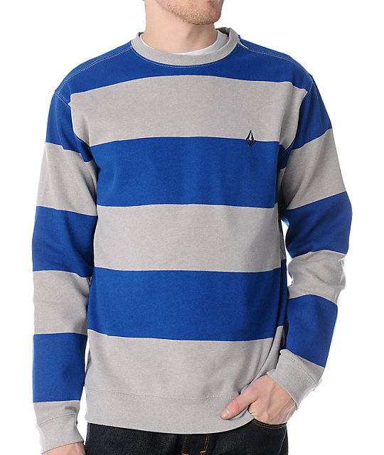 Volcom Gotta Blue Striped Crew Neck Sweatshirt