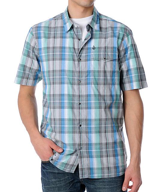 Volcom Gravitate Blue Plaid Short Sleeve Woven Shirt
