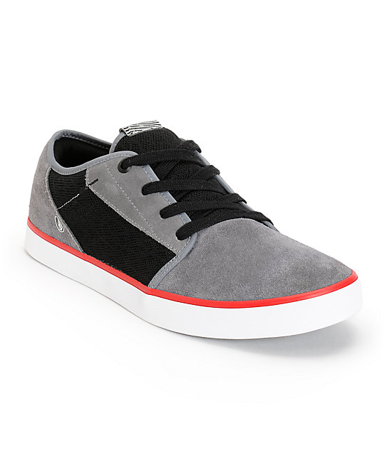 Volcom Grimm Charcoal & Black Mesh Suede Shoes