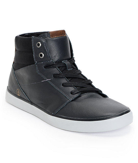 Volcom Grimm Mid Premium Gun Metal Leather Shoes