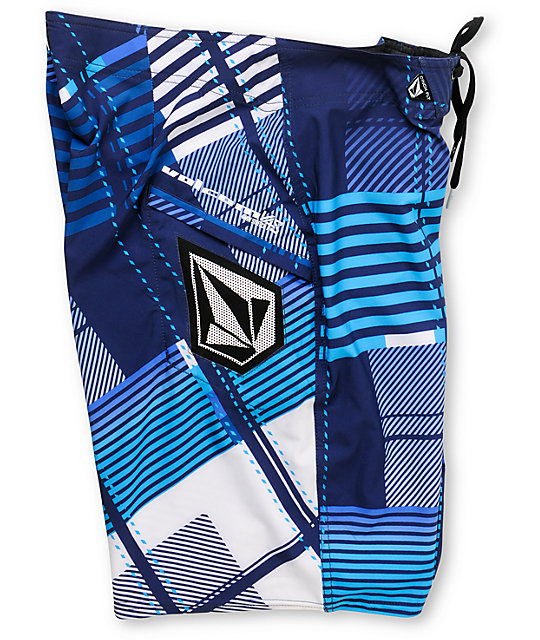 Volcom Gunshot Navy Blue Plaid 21 Board Shorts